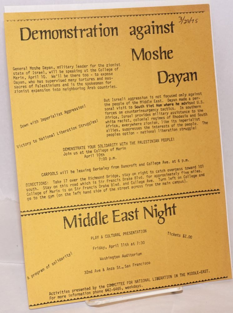 Demonstration against Moshe Dayan [handbill]. Committee for National Liberation in the Middle East.