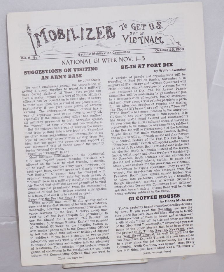 The Mobilizer to get US out of Vietnam. Vol. 5, no. 1 (October 25, 1968). National Mobilization Committee.