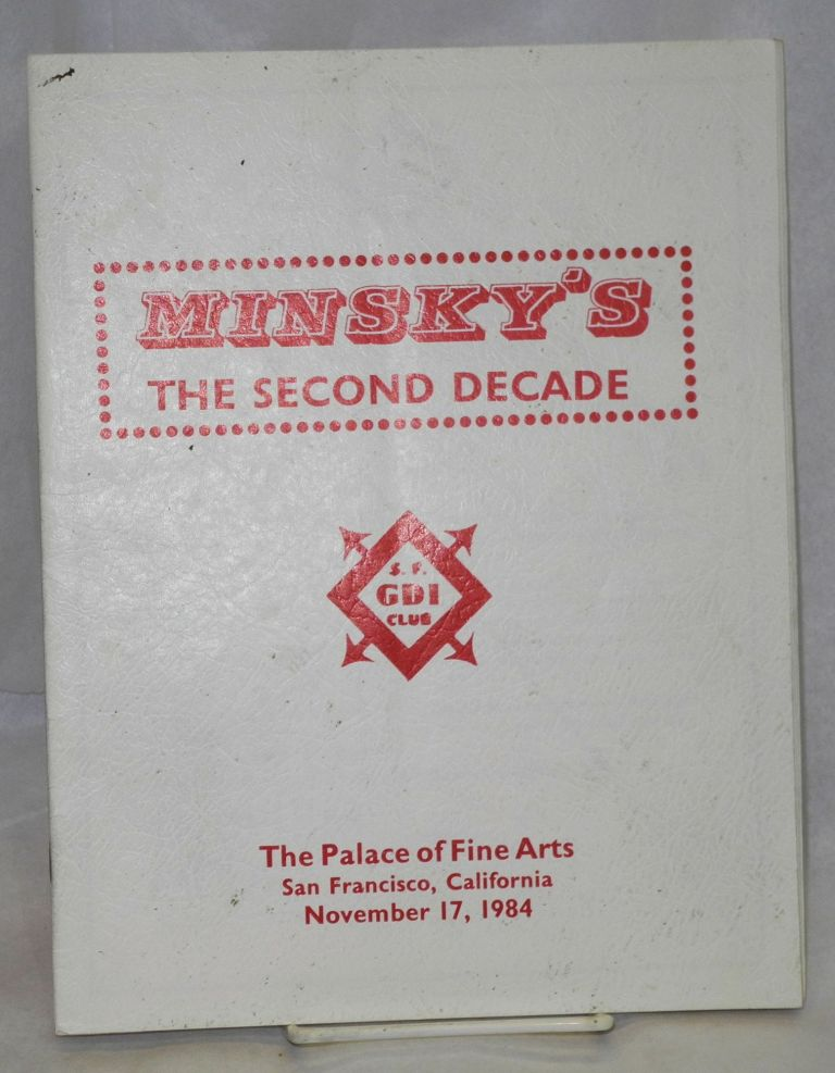 Minsky's second decade program for the 11th annual A Date at Minsky's at the Palace of Fine Arts, November 17, 1984