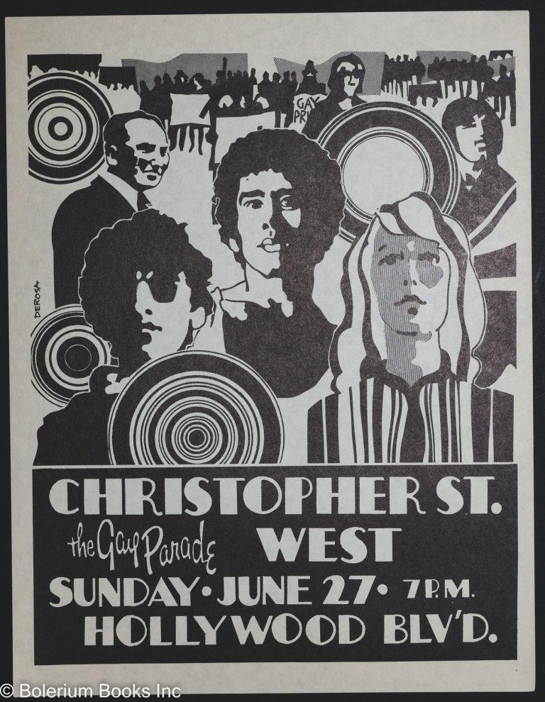 Christopher St. West: the gay parade, Sunday.June 27. 7pm, Hollywood Blv'd. (handbill/poster). Tony Derosa, artwork.