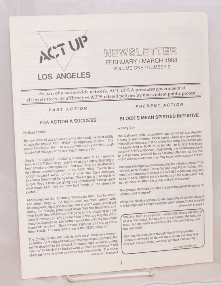 ACT UP / Los Angeles: Newsletter of the Aids Coalition to Unleash Power / Los Angeles; February/March 1988, Volume 1 / Number 2. Act Up Los Angeles, Larry Day, Brad Confer.