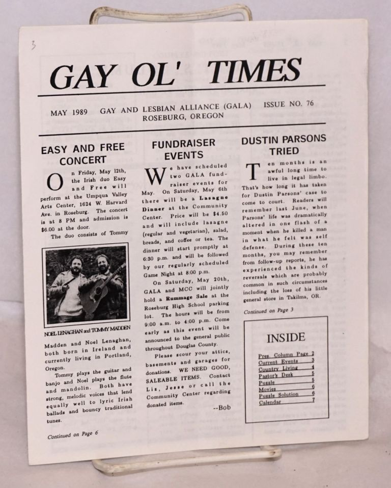 Gay Ol' Times: Gay and Lesbian Alliance newsletter; issue no. 76 May 1989