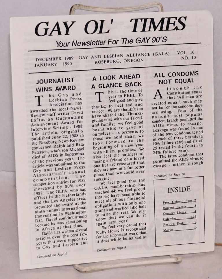 Gay Ol' Times: Gay and Lesbian Alliance newsletter; vol. 10, no. 10, December 1989 January 1990
