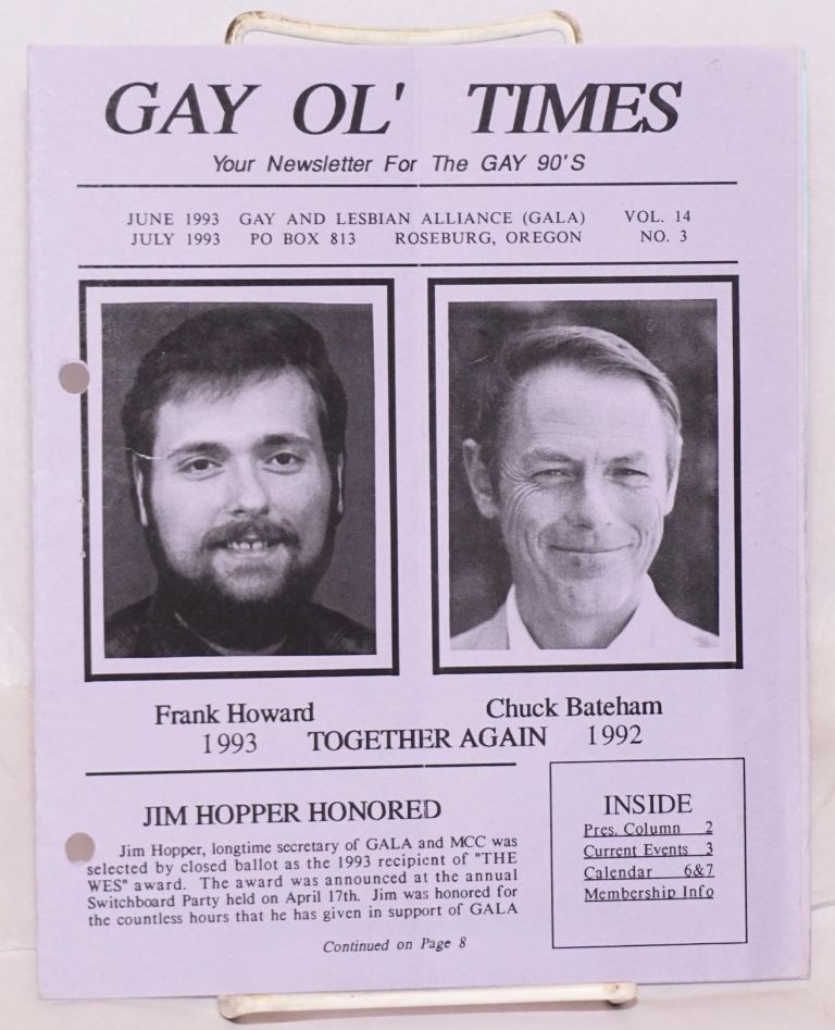 Gay Ol' Times: Gay and Lesbian Alliance newsletter; vol. 14, no. 3, June/July 1993,