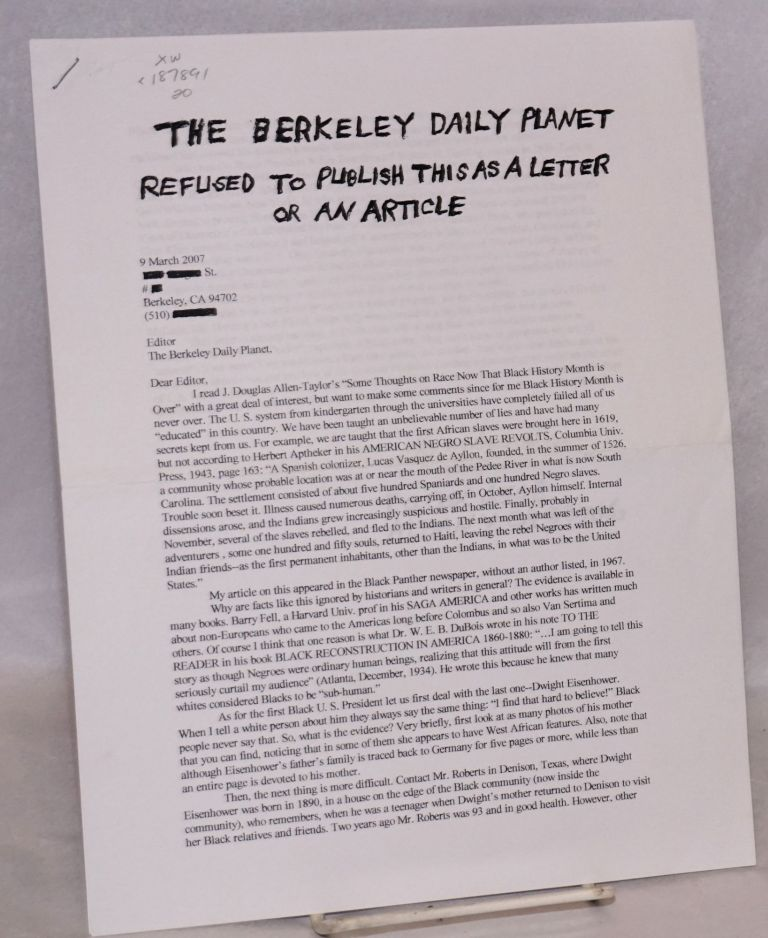 The Berkeley Daily Planet refused to publish this as a letter or an article. Tom Sanders.