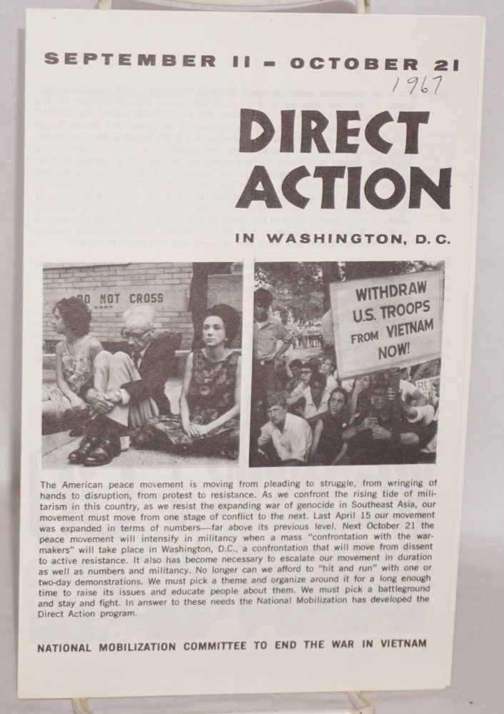September 11-October 21. Direct action in Washington DC. National Mobilization Committee to End the War in Vietnam.