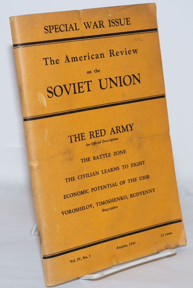 American Review on the Soviet Union: Special war issue. Vol. 4, no. 3 (Aug. 1941)