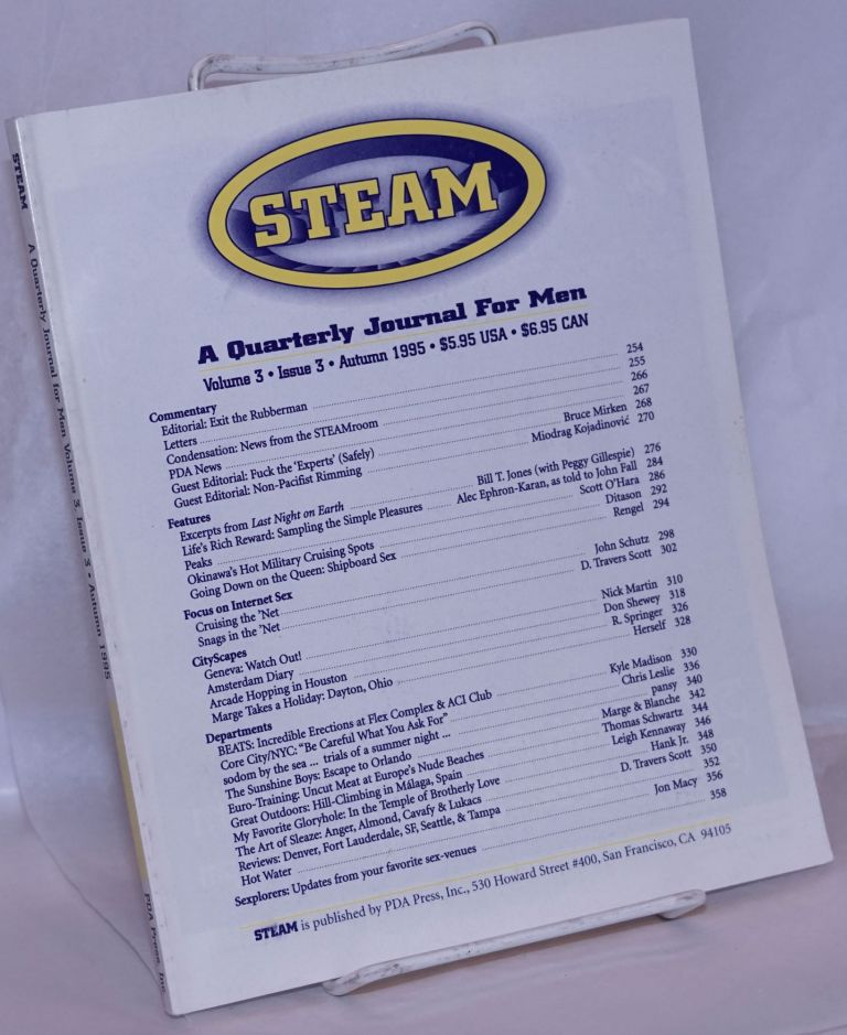Steam; a quarterly journal for men, volume 3, issue 3, Autumn 1995. Scott O'Hara, , and publisher.
