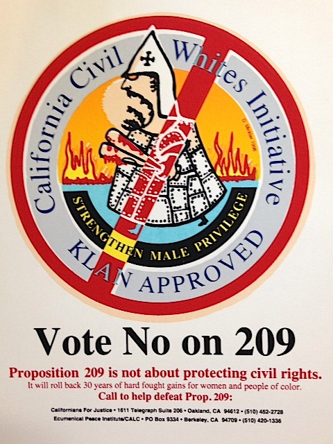 Vote No on 209. California Civil Whites Initiative / Klan Approved [handbill]