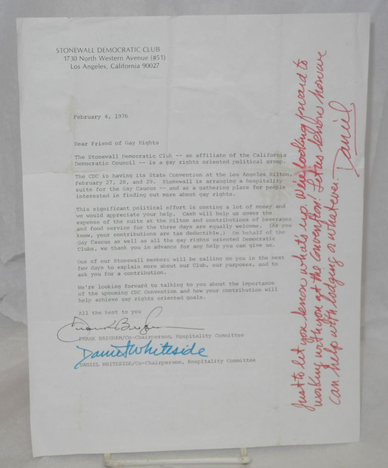 Form letter concerning attendance and fundraising for the CDC Convention; February 4, 1976 [letter]. Los Angeles Stonewall Democratic Club.