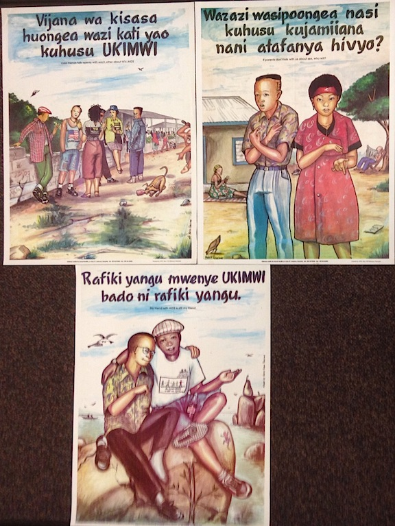 [Three AIDS education posters targeting Tanzanian youth]. Marco Tibasima, artist.