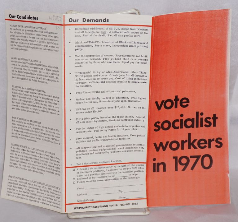 Vote Socialist Workers in 1970. Ohio campaign Socialist Workers Party.