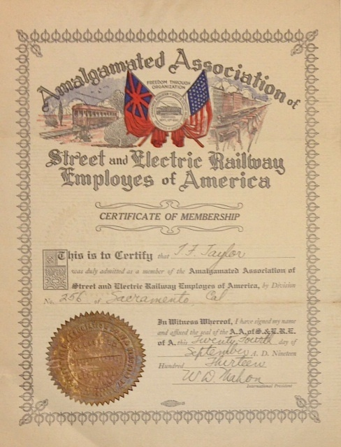 Certificate of Membership. Amalgamated Association of Street, Electric Railway Employees of America.