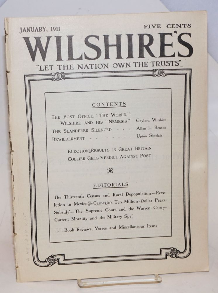 Wilshire's, vol. 15, no. 1, January, 1911. Gaylord Wilshire, ed.