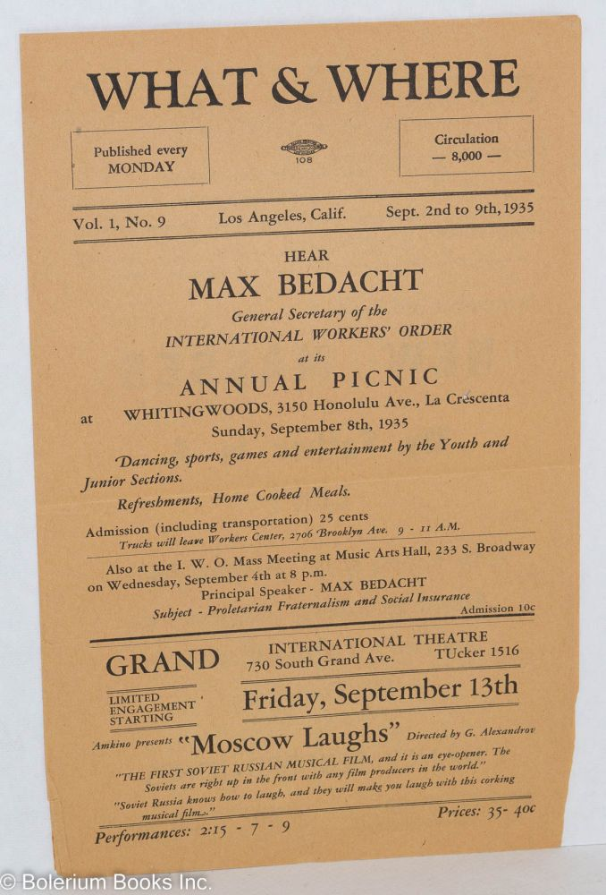 What & where, published every Monday. Vol. 1, no. 9, Sept. 2nd to 9th, 1935. USA? Communist Party.
