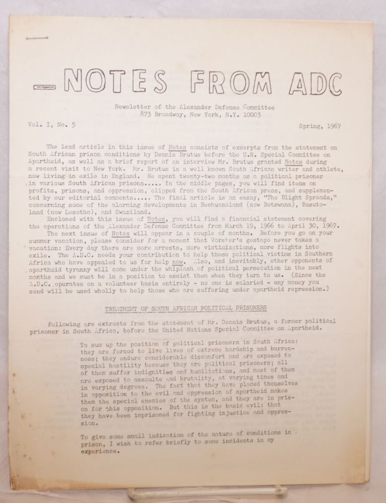 Notes from ADC: Newsletter of the Alexander Defense Committee. Vol. 1 no. 5 (Spring 1967). Alexander Defense Committee.