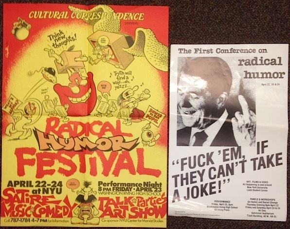 Cultural Correspondence presents Radical Humor Festival [two posters]. Howard Cruse.