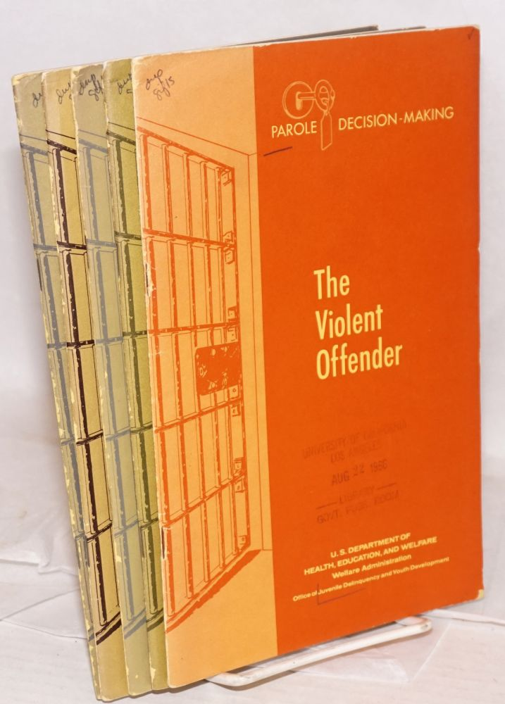 Parole decision-making: The violent offender; The sentencing and parole process; Personal characteristics and parole outcome;The alcoholic offender; The control and treatment of narcotic use [5 issues]. Daniel Glaser, Fred Cohen, Vincent O'Leary, Donald Kenefick.