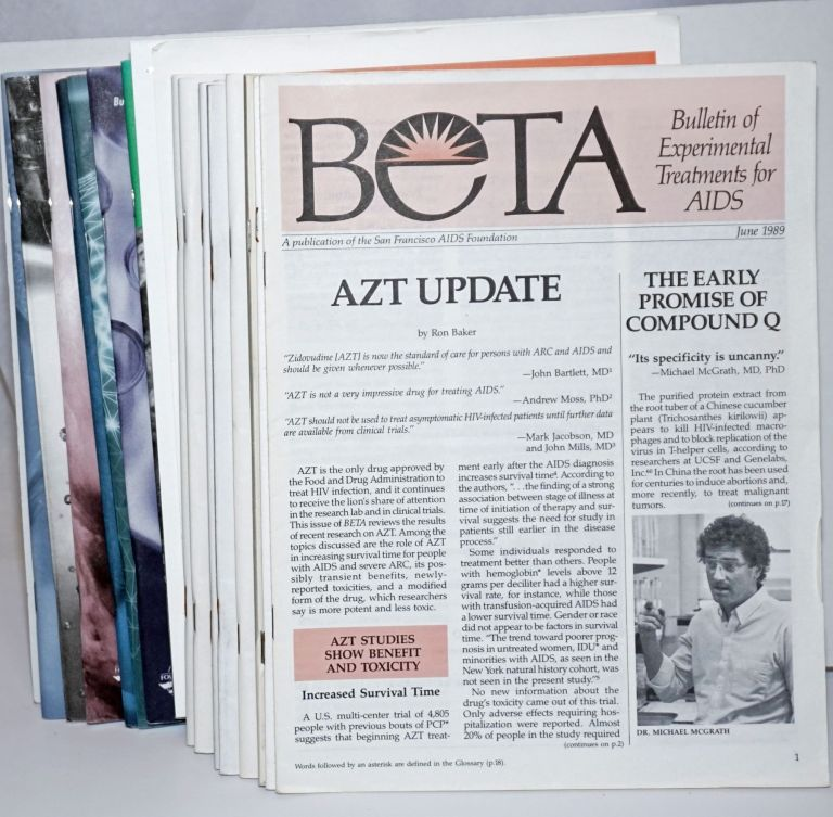 BETA: Bulletin of Experimental Treatments for AIDS; June 1989 - Summer 2008 (broken run of 20 issues and a summary sheet)