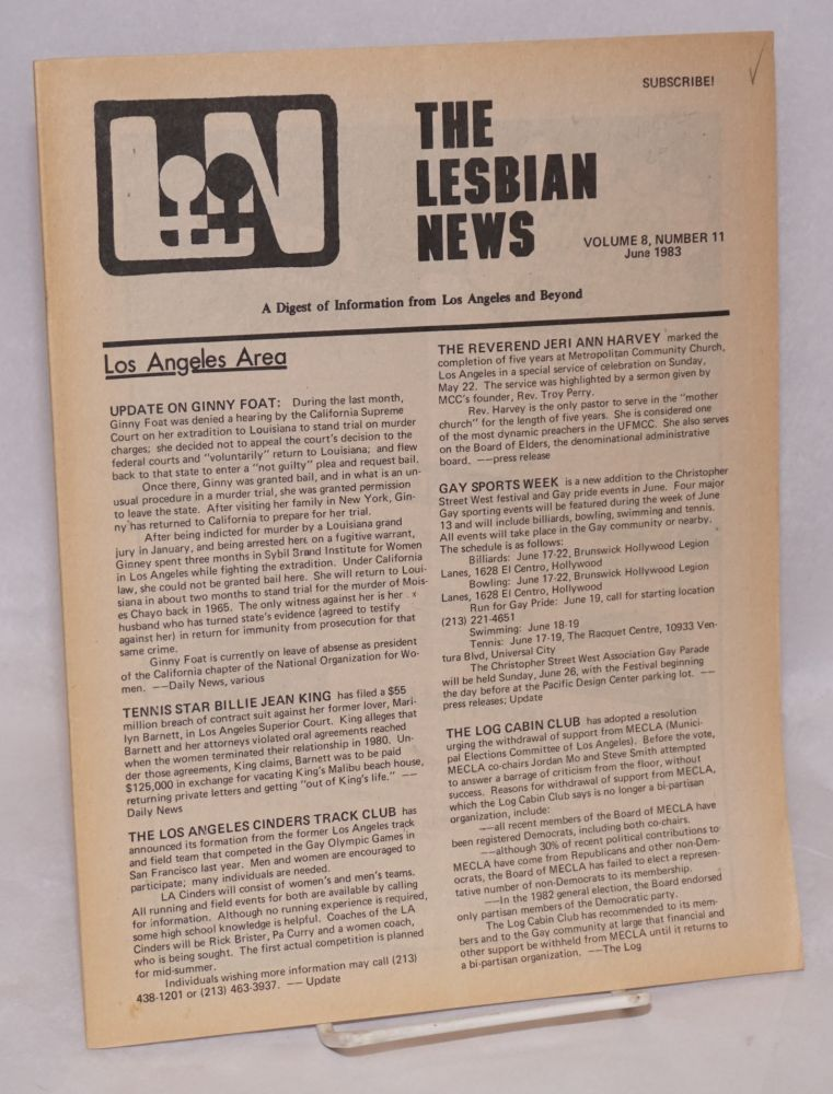 The Lesbian News: a digest of information from Los Angeles and beyond, vol. 8, #11, June 1983. Jinx Beers, , Buffie Bolles, Sandy Kennedy.