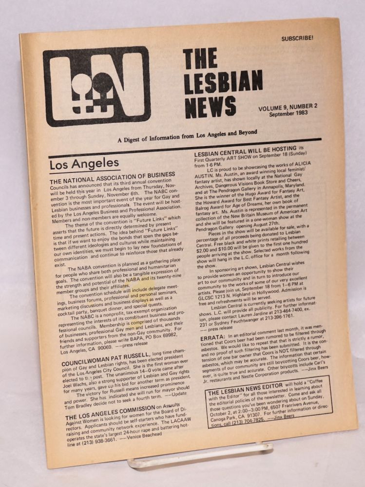 The Lesbian News: a digest of information from Los Angeles and beyond, vol. 9, #2, September 1983. Jinx Beers, , Buffie Bolles, Sandy Kennedy.