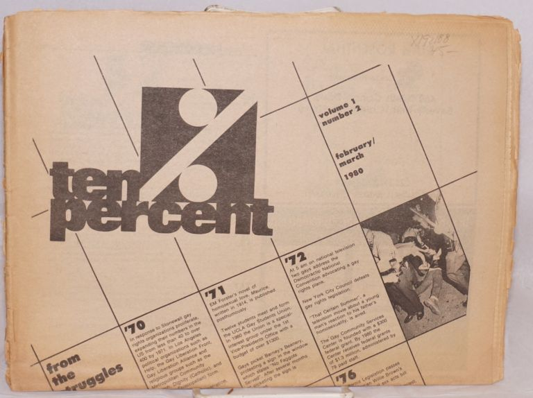 Ten percent aka TenPercent: UCLA's gay and lesbian newsmagazine; vol. 1 #2, February/March 1980. Clay Doyle, , Stuart Timmons, Vito Russo, James M. Morales, Eric Gary Allyn.