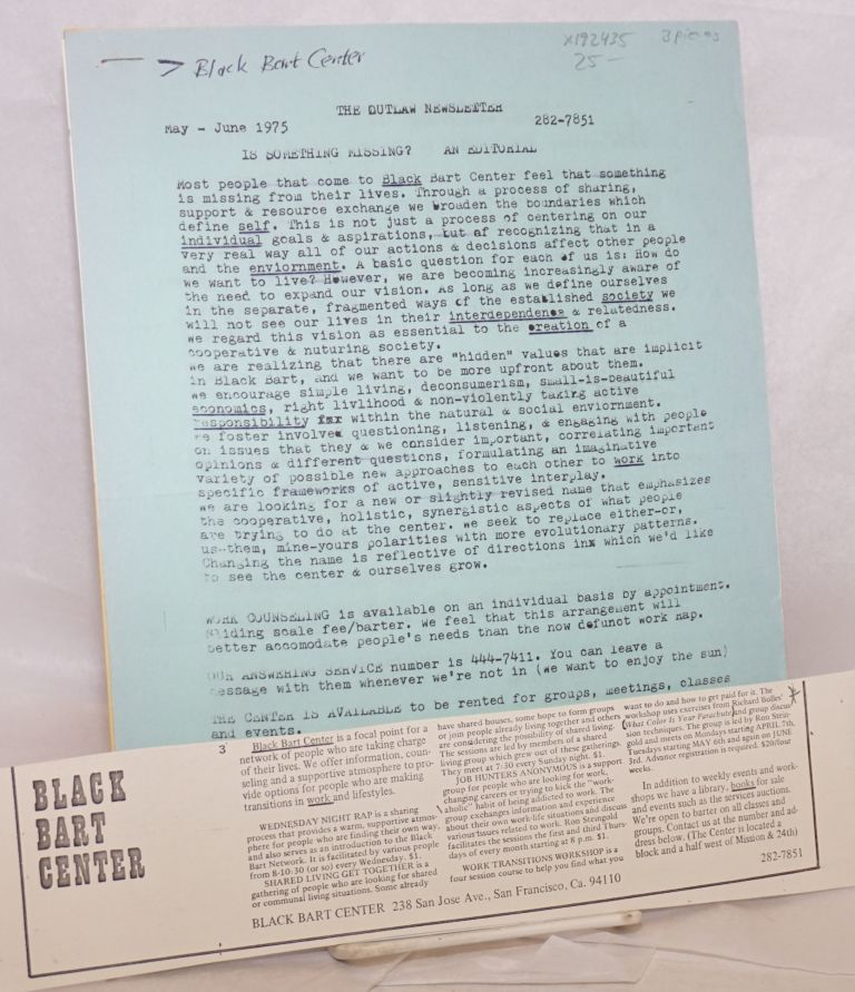 [Packet of materials relating to the Black Bart Center]. Black Bart Center.