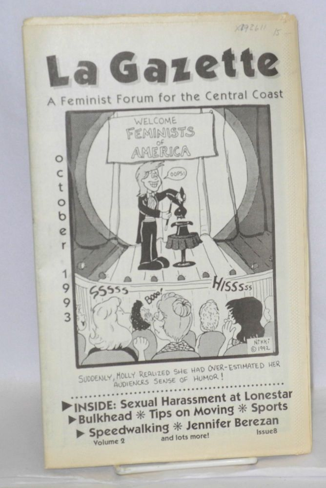 La gazette: a feminist forum for the Central Coast; vol. 2, #8, October 1993. Tracy Lea Lawson, , and publisher.