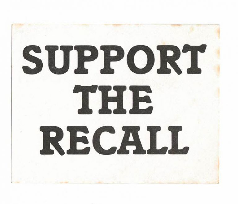 Support the Recall [sticker]. White Panther Party.