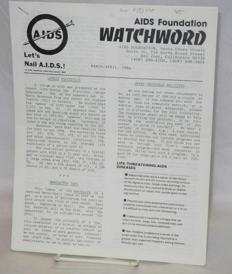 AIDS Foundation Watchword: March/April 1984. Dot James AIDS Foundation, Davida Rosenbauum, Dave Steward.