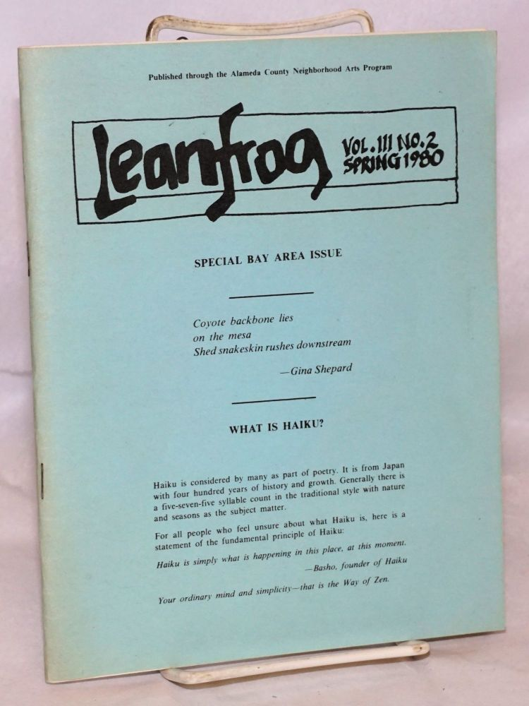 Leanfrog: vol. III no. 2, Spring 1980; special Bay Area issue. Louis Cuneo, , Bob Booker, Pete Beckwith, Michael Calvello, John Oliver Simon, Jim Normington, Toby Kaplan.