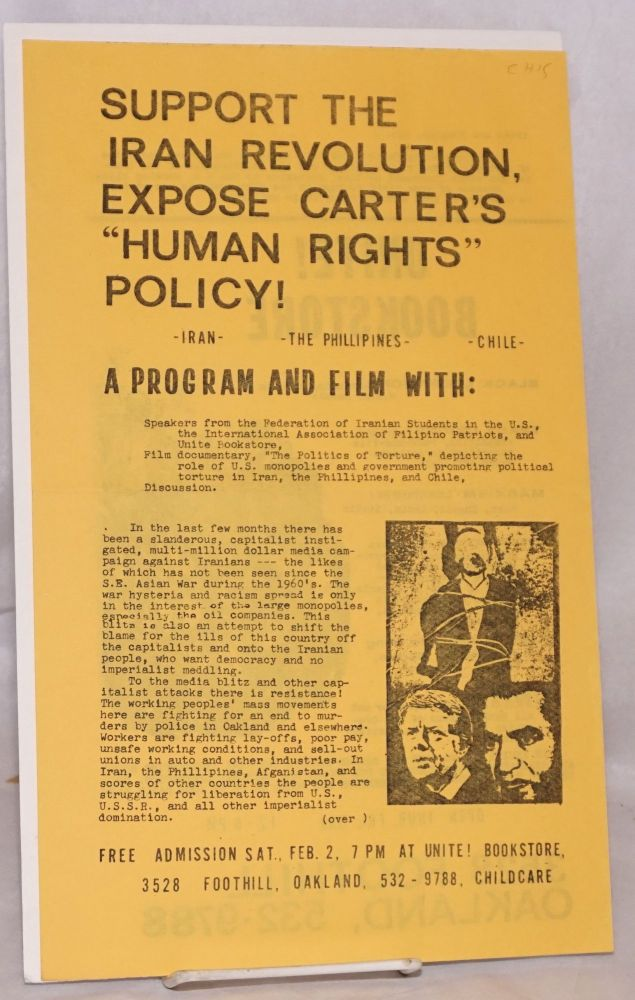 "Support the Iran revolution, expose Carter's ""Human rights"" policy! [handbill]. Communist Party USA, Marxist-Leninist."