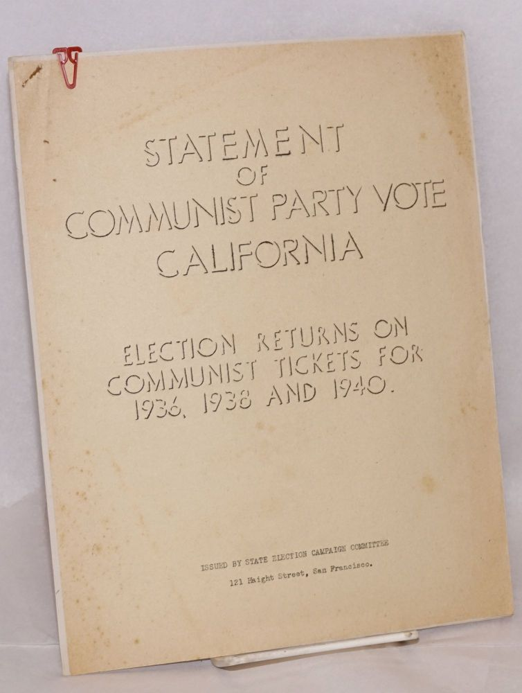 Statement of Communist Party vote California. Election returns on Communist tickets for 1936, 1938 and 1940. USA Communist Party.
