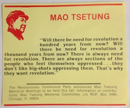 [Card announcing Mao Tsetung Memorial Meetings]. Revolutionary Communist Party.