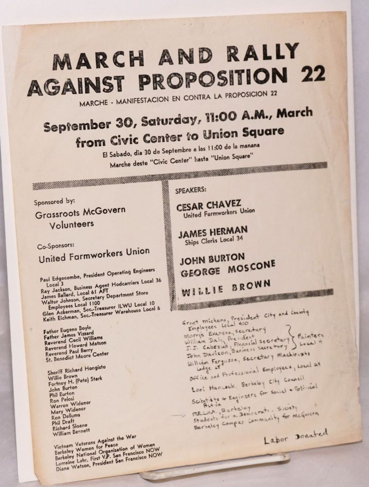 March and rally against Proposition 22: September 30, Saturday, 11:00 A.M., March from Civic Center to Union Square [handbill]. Grassroots McGovern Volunteers, United Farmworkers Union.