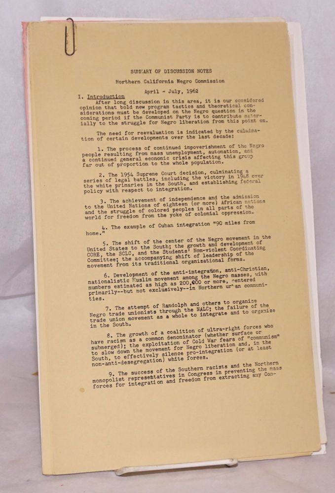 Summary of discussion notes. April-July, 1962. Northern California Negro Commission, Communist Party USA.