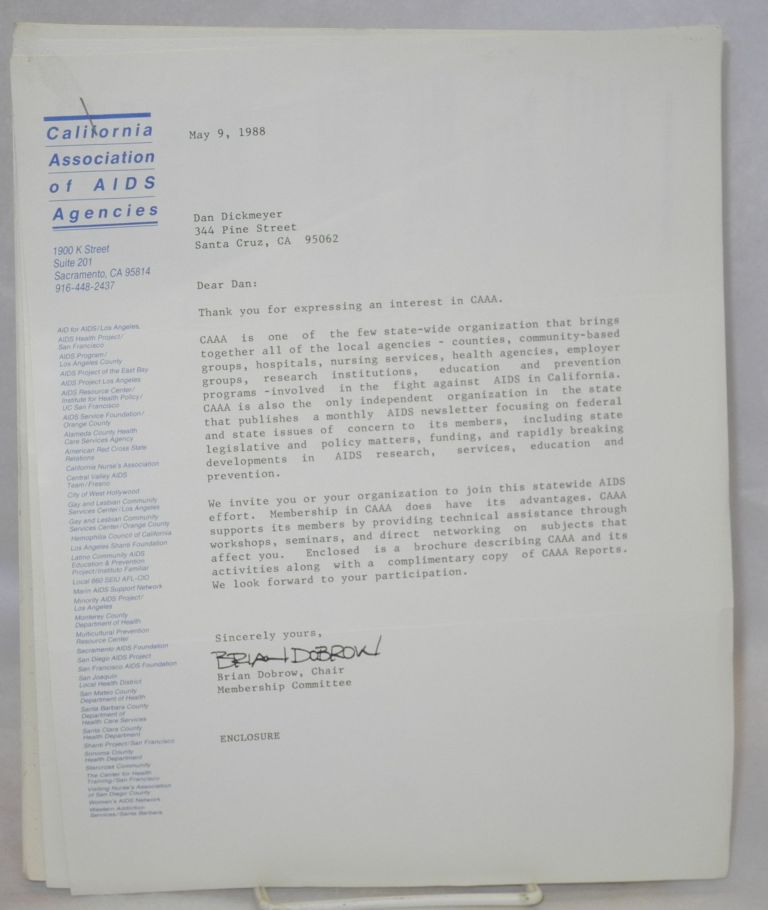 California Association of AIDS Agencies [information packet and cover letter]