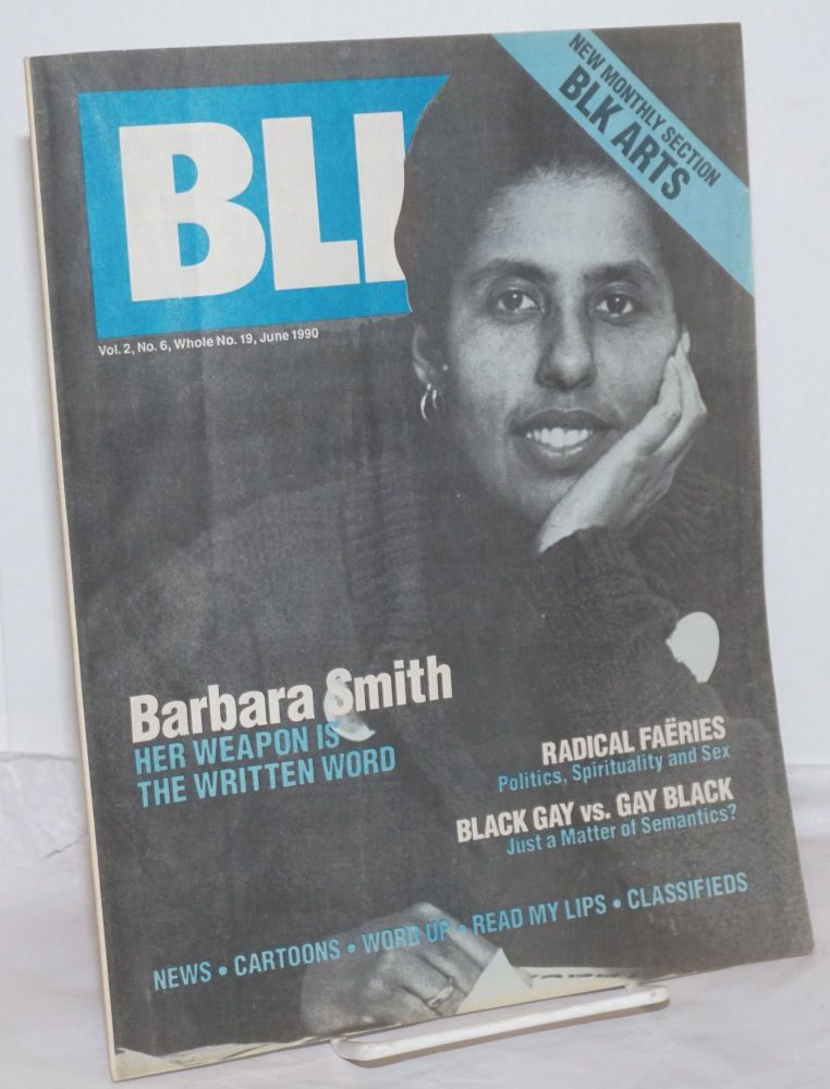BLK: the national black lesbian and gay newsmagazine, vol. 2, #6, whole number 19, June 1990. Alan Bell, , and publisher.