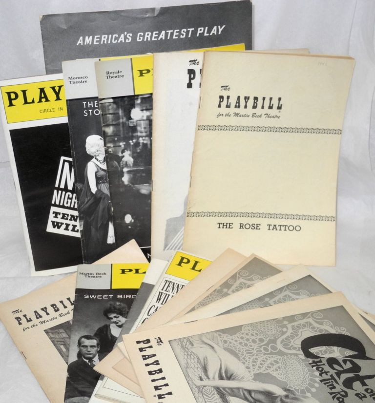 Collection of Playbills from various Tennessee Williams productions [13 playbills and 1 souvenir booklet]. Tennessee Williams.