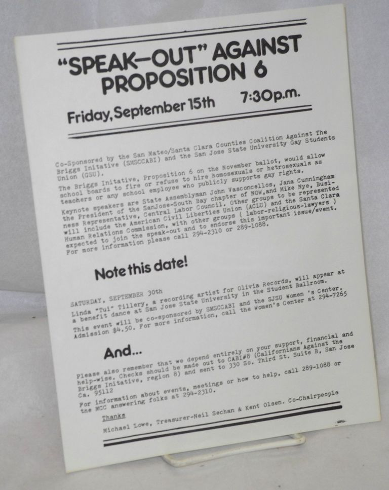 """Speak-Out"" against Proposition 6 [handbill]. Michael Lowe, Neil Sechan, Kent Olsen."