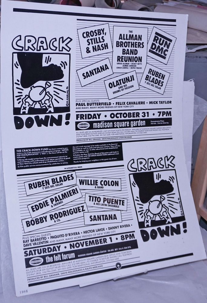 Crack Down! [poster for events featuring RUN DMC, Santana, Tito Puente, Crosby Stills and Nash, Allman Brothers and others to raise funds for crack education]. Keith Haring.