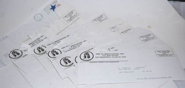 Nine envelopes containing letters and handbills for events held by the Association from 1993-1996. The 15 Association.