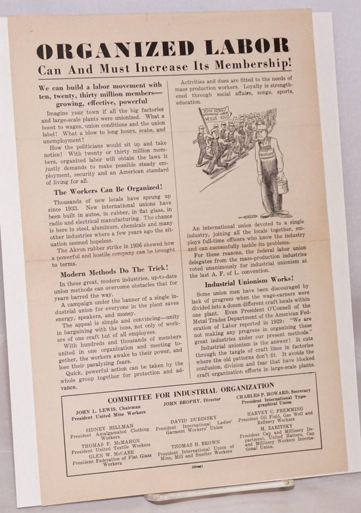Organized Labor Can and Must Increase its Membership! [handbill]. Committee for Industrial Organization.