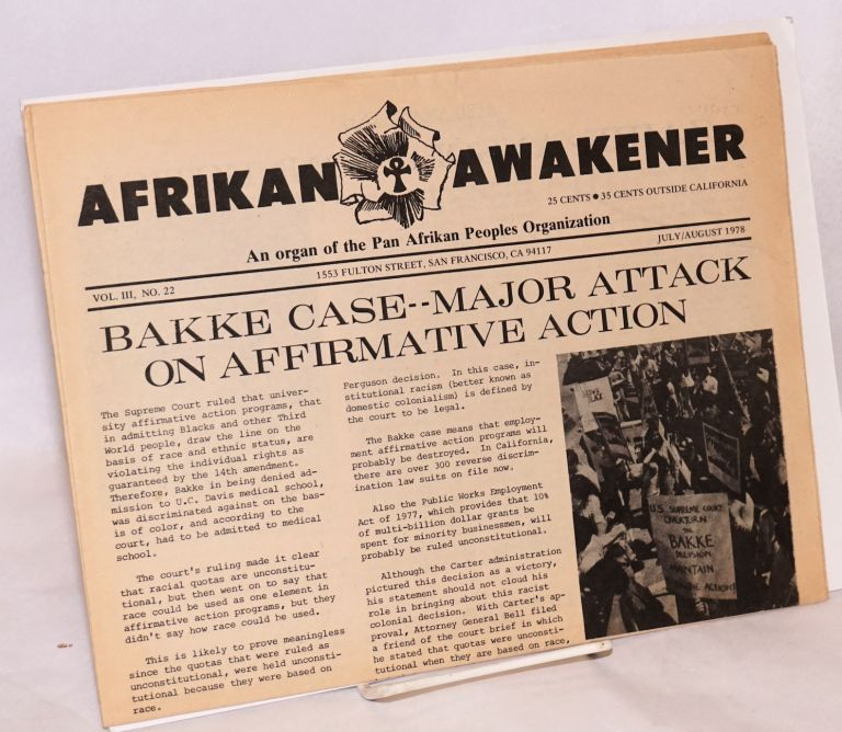 Afrikan awakener: an organ of the Pan Afrikan Peoples' Organization. Vol. 3, no. 22 (July/August 1978)