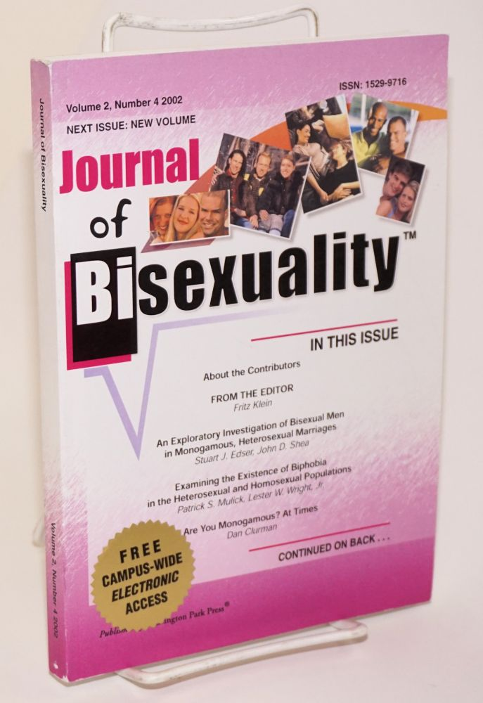 Journal of bisexuality; volume 2, number 4. Fritz Klein.