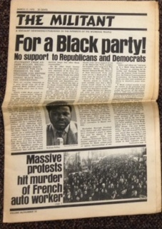 "The Militant (March 17, 1972). Cover story: ""For a Black Party! No support to Republicans and Democrats"" Andrew Pulley."
