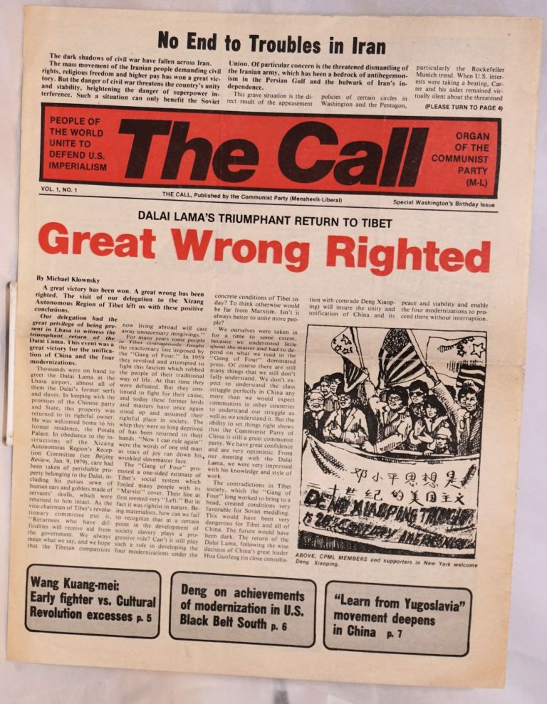 The Call: organ of the Communist Party (Menshevik-Liberal). Vol. 1 no. 1. Special Washington's Birthday issue. Revolutionary Communist Party.