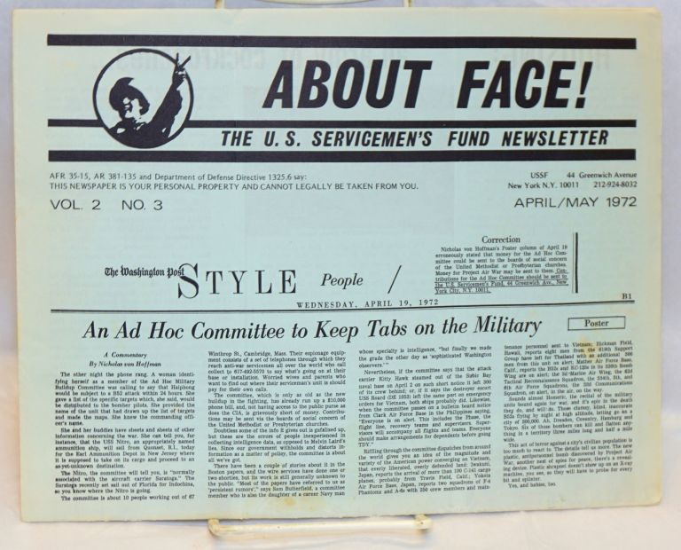 About face! The U.S. Servicemen's Fund newsletter. Vol. 2 no. 3 (April/May 1972)