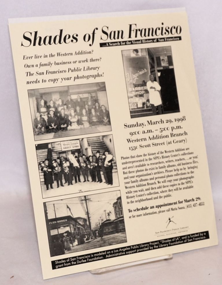 Handbill - Shades of San Francisco . . . a search for the visual history of San Francisco exhibition Sunday March 29, 1998, 9am-5pm, Western Addition Branch