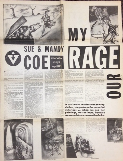 Sue & Mandy Coe: My Rage. Interview in NYC April 88 [broadsheet]. Sue and Mandy Coe.